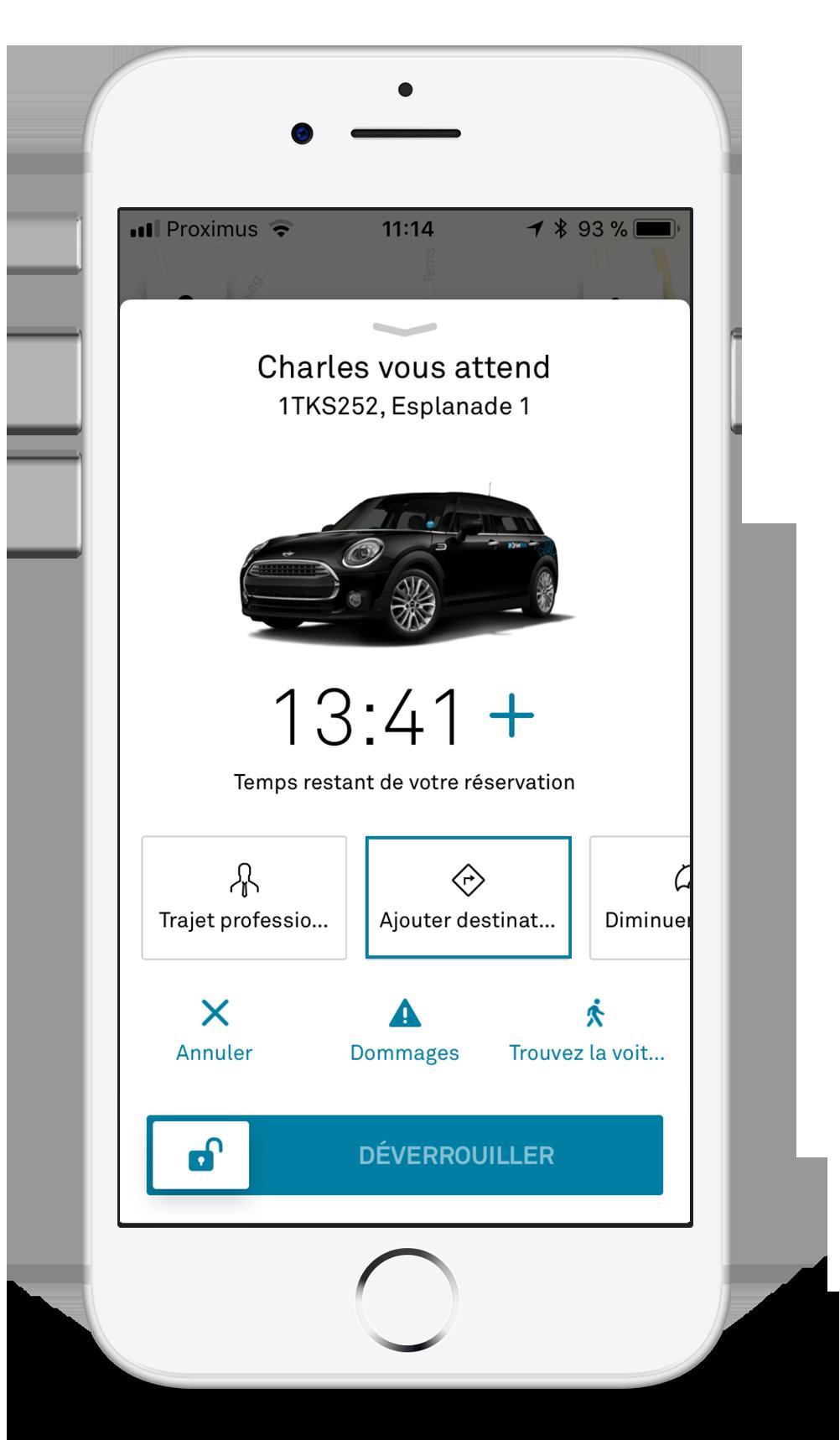 Dites à l'app DriveNow où vous allez