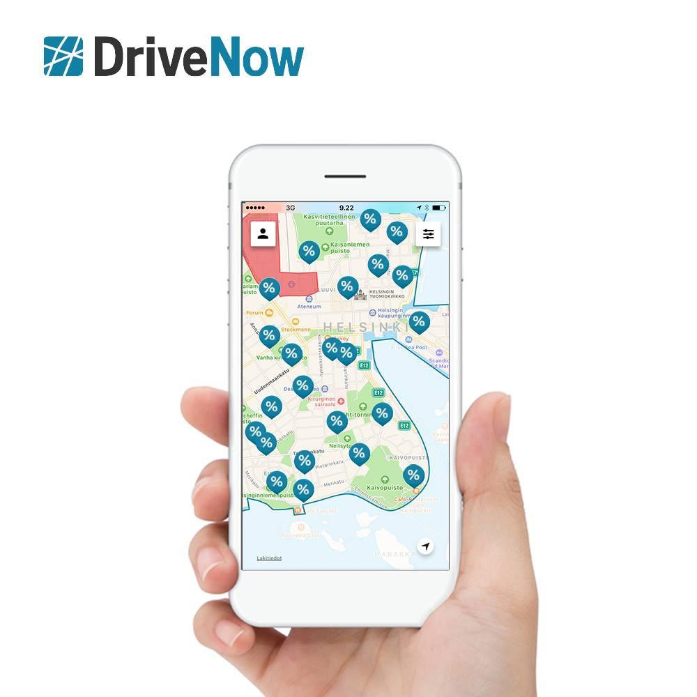 Drive'n'Save -hintaisia autoja kartalla.