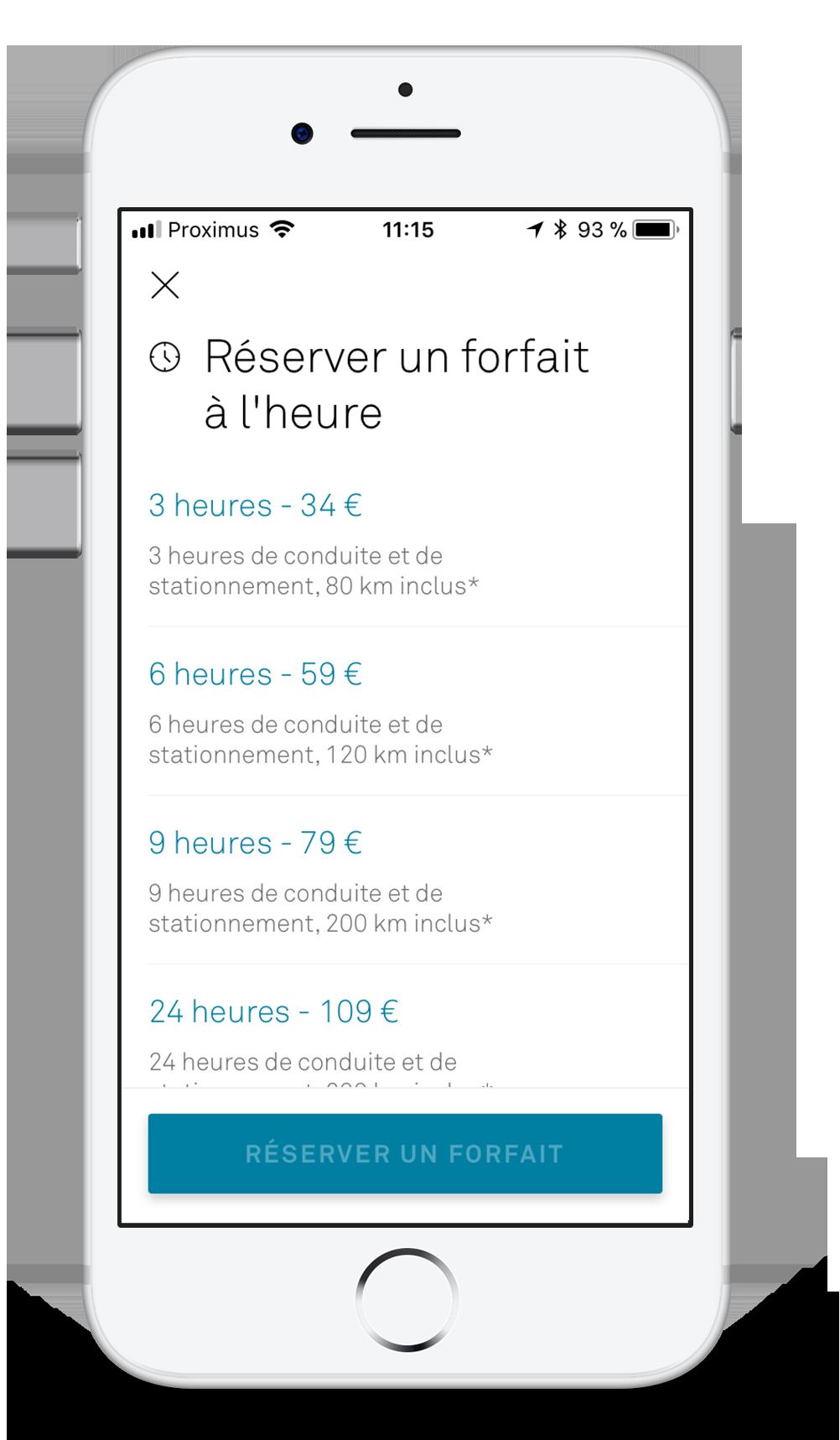 Réservez un forfait horaire via l'app