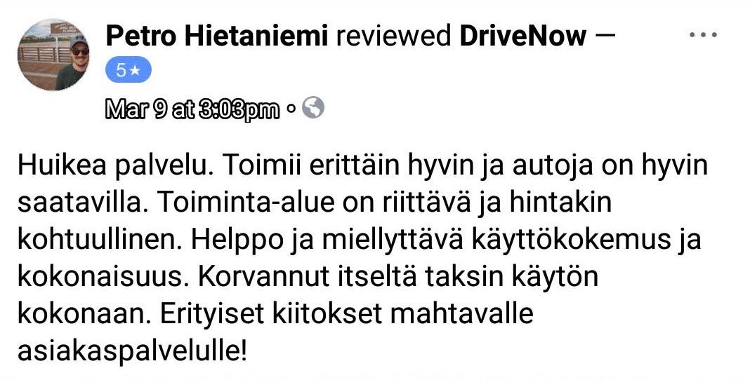 Drivenow kokemuksia Petro