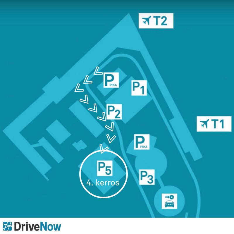 Miten pääsen terminaalista DriveNow-autoille?