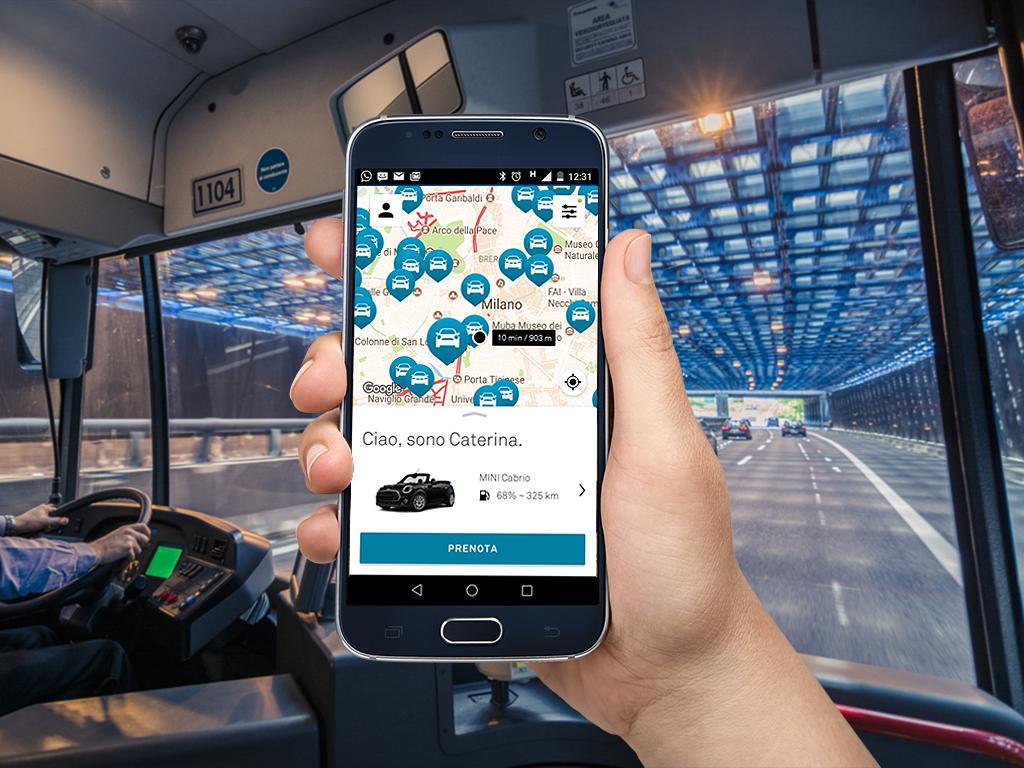 cliente DriveNow usa app su autobus Autoguidovie