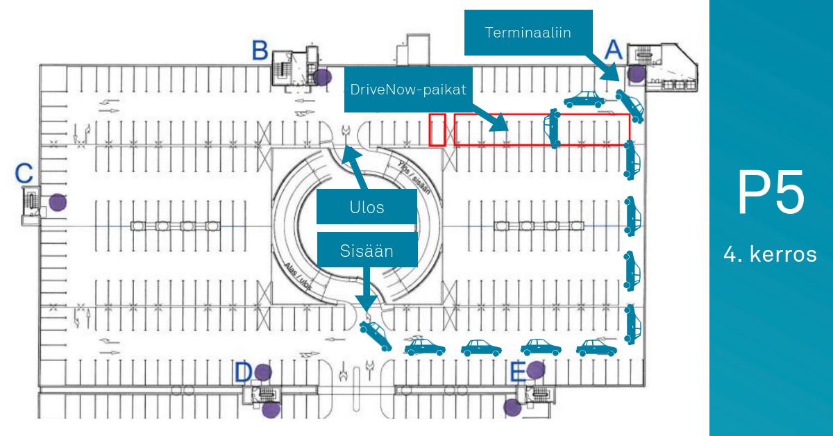 DriveNow:n paikat lentokentällä P5-hallin 4. kerroksessa.