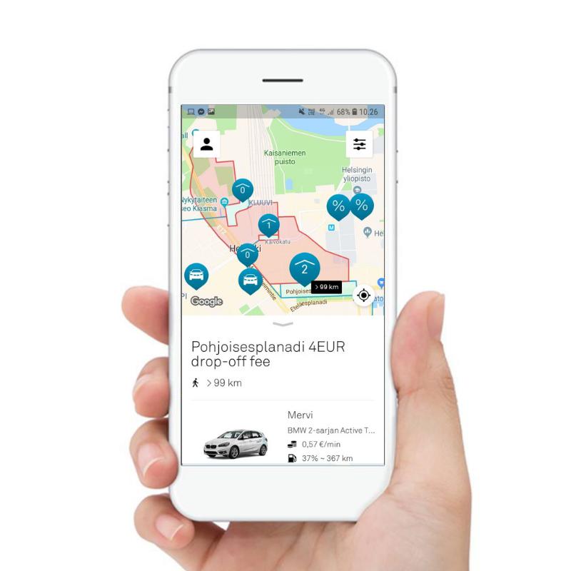 DriveNow:n premium-parkit ja pysäköinti.